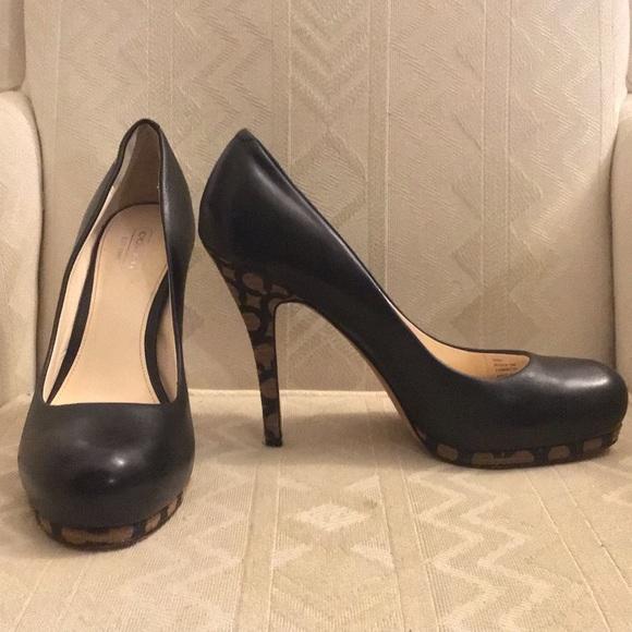 """616dc7fd7ac Coach Shoes - Sale Coach 4"""" Platform Signature Pumps Black EUC 8"""